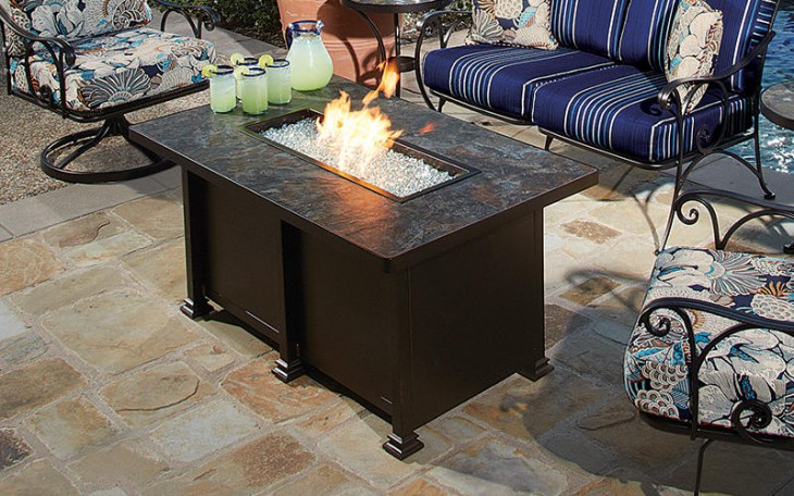 "Santorini 30"" x 50"" Rectangular Gas Fire Pit"