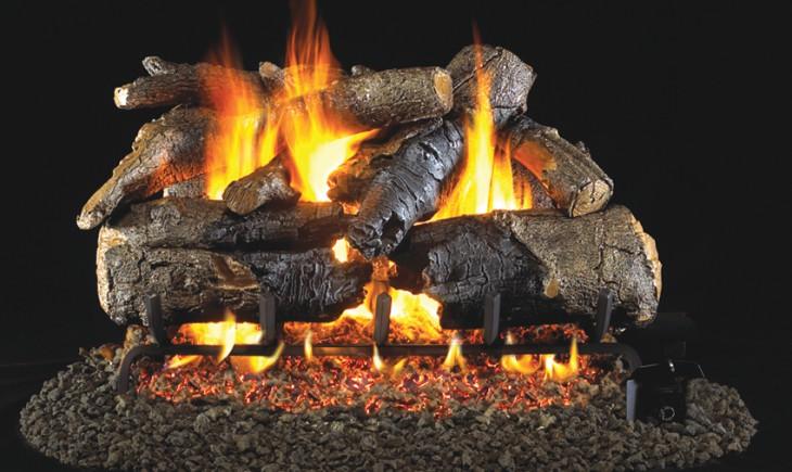 Charred American Oak Vented Gas Logs